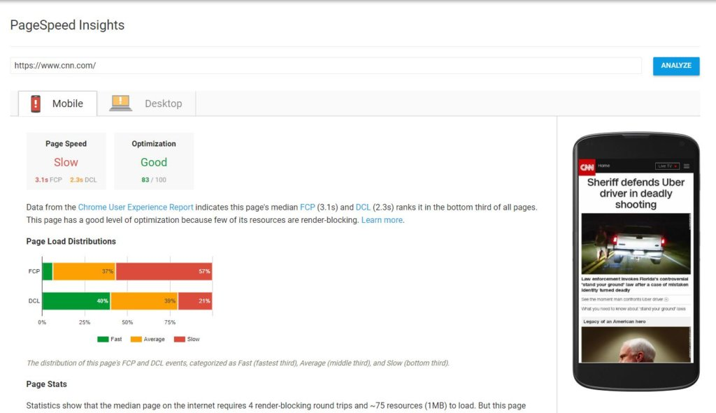 Screenshot of PageSpeed Insights results for CNN.com.