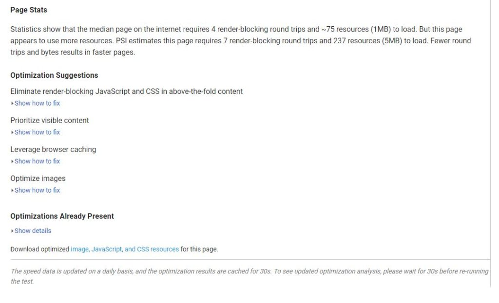 Screenshot of PageSpeed Insights recommendations for CNN.com.