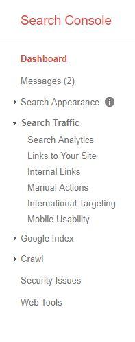 Screenshot of Google's Search Console menu.
